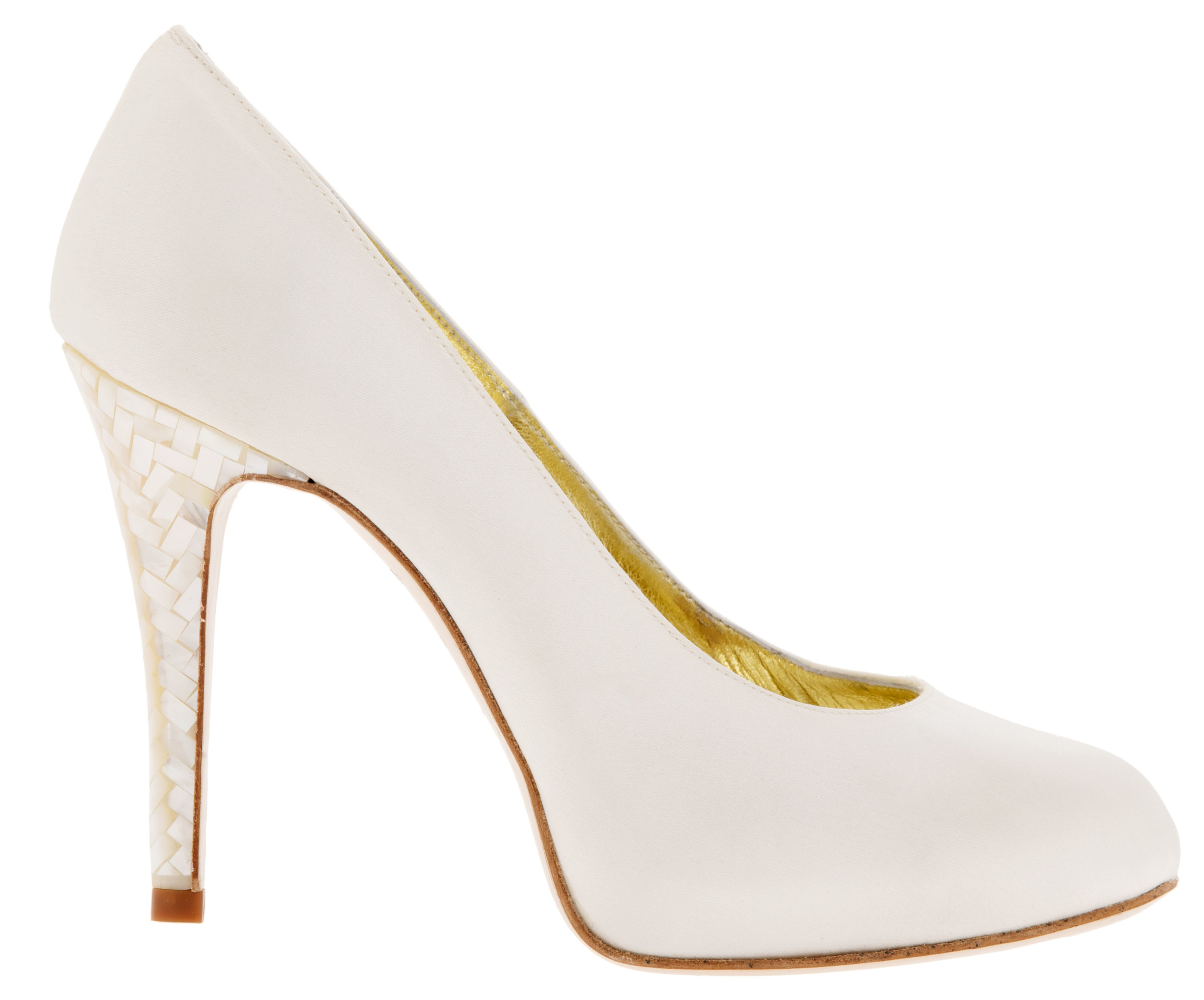 The Caira shoes, with Freya Rose's signature Mother of Pearl mosaic heel