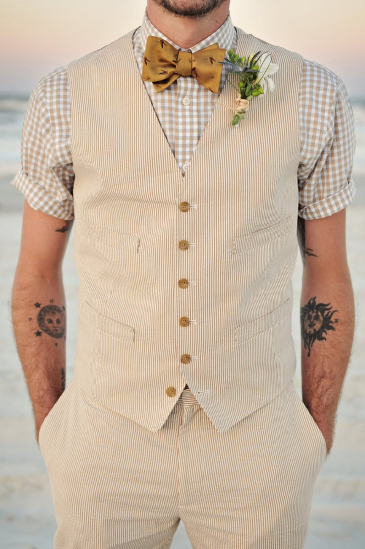 Boho beach wedding groom style