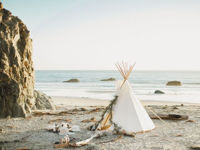 Beach wedding tipi
