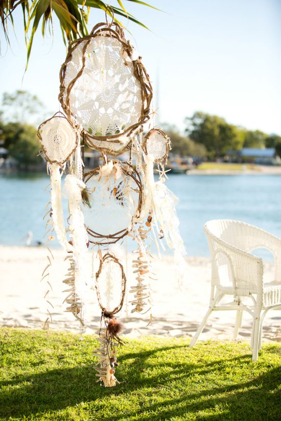 Boho beach wedding decor - dream catcher