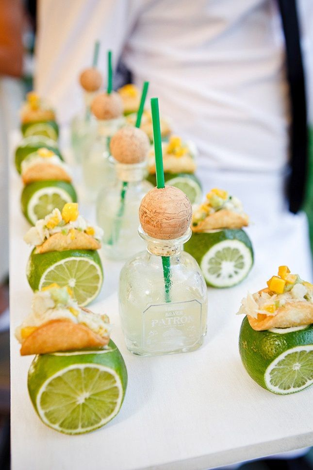 Mini margaritas and tacos - beach wedding food