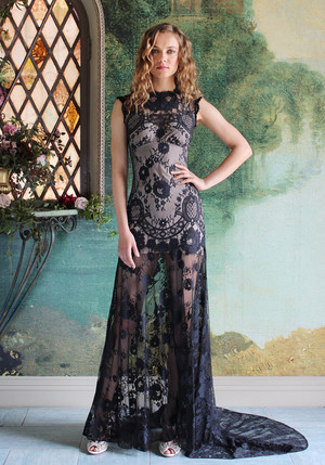 halloween wedding inspiration claire pettibone cheyenne gown - Halloween Wedding Gown