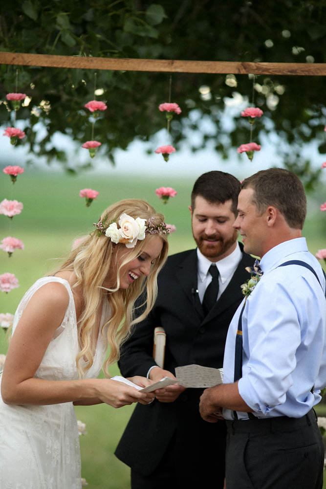 Colorado Backyard Bohemian Wedding | Charlie Brear wedding dress from Little White Dress Bridal Shop