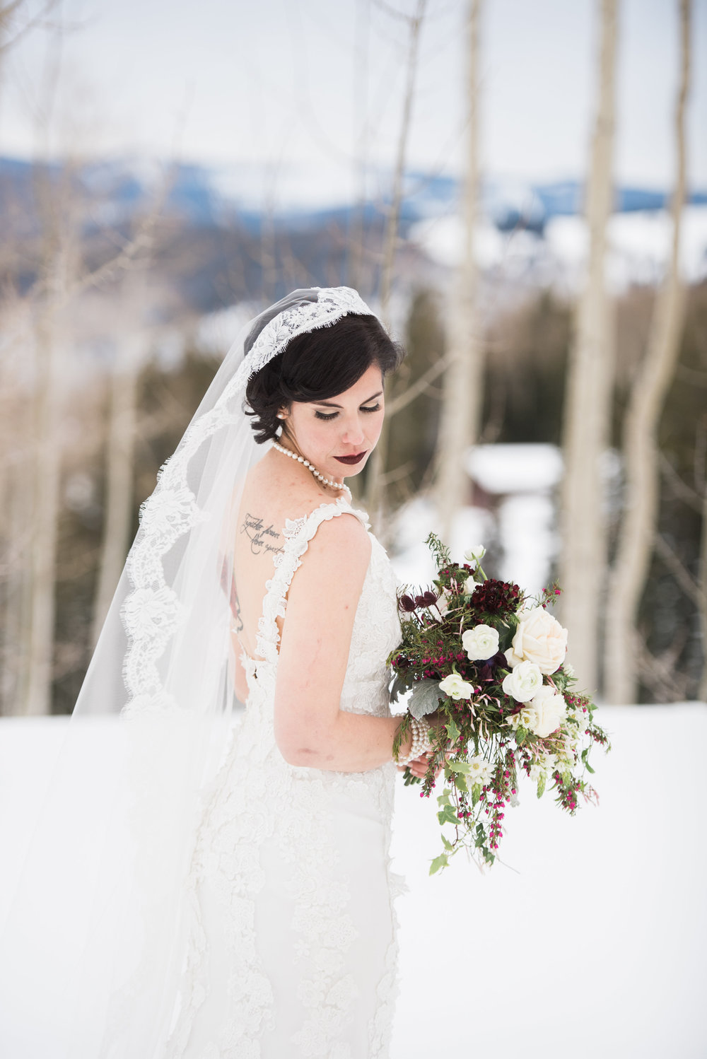 Beaver Creek Mountain wedding | Robert Bullock Bride gown from Little White Dress Bridal Shop in Denver | Ali & Garrett Wedding Photographers