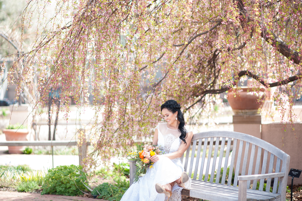 "Spring inspired shoot at the Botanic Gardens | Claire Pettibone ""Vanderbilt"" available at Little White Dress Bridal Shop in Denver 