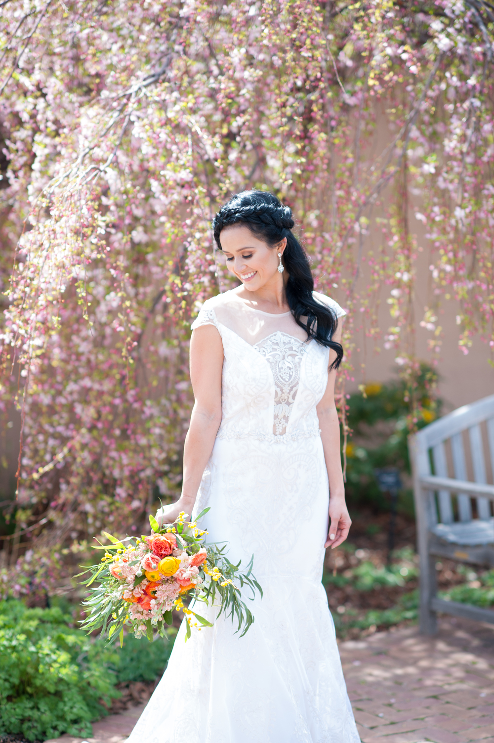 "Spring inspired shoot at Botanic Gardens Denver | ""Vanderbilt"" from Claire Pettibone available at Little White Dress Bridal Shop 