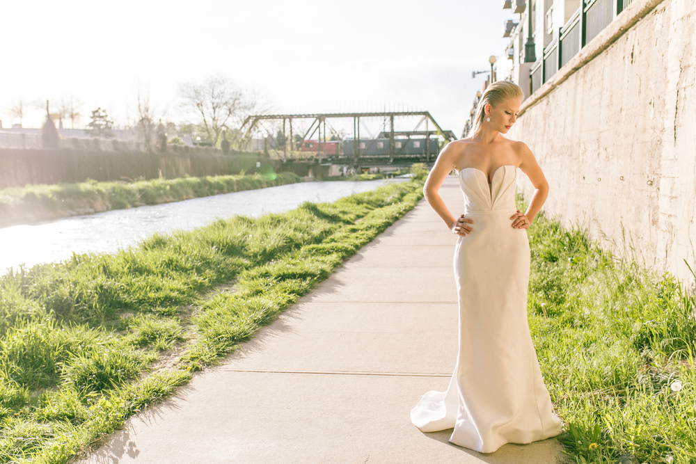 Gowns from J.Mendel, shoes & jewelry from Marchesa   all available at Little White Dress Bridal Shop in Denver    Lisa O'Dwyer Photography