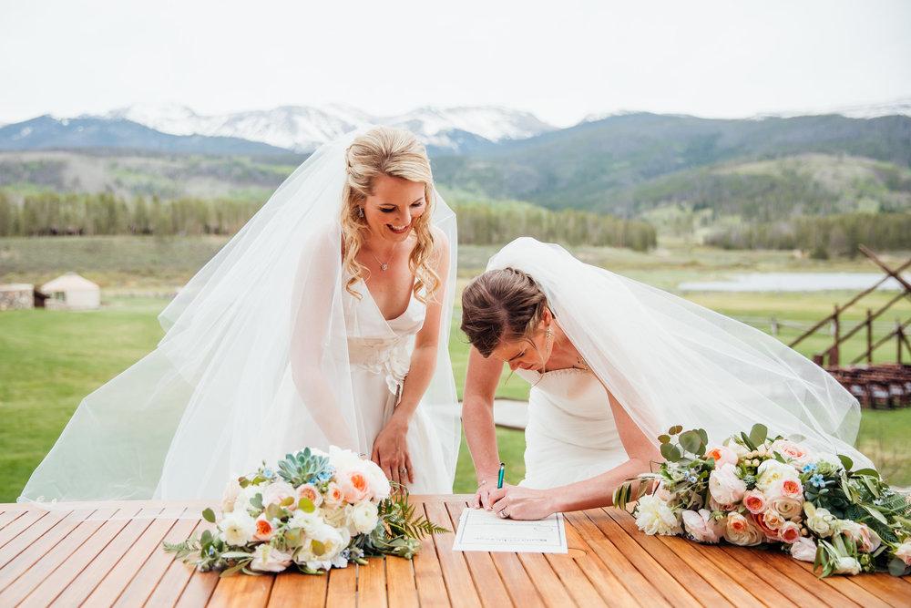 Devil's Thumb Ranch Wedding, LGBT Wedding, Denver Bridal Shop, Sassi Holford