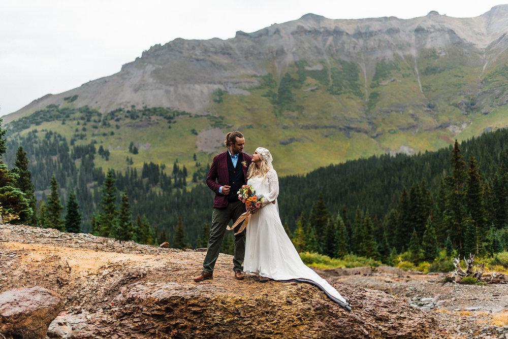 Ouray Wedding, Rocky Mountain Wedding, Claire Pettibone Boho Veil, Lillian West wedding dress, Denver Bridal Shop