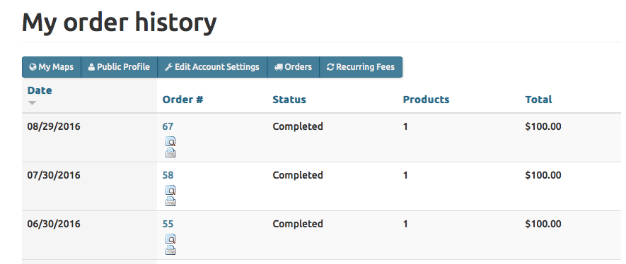 """""""Orders"""" show your billing history, and """"Recurring Fees""""will show your next billing date."""