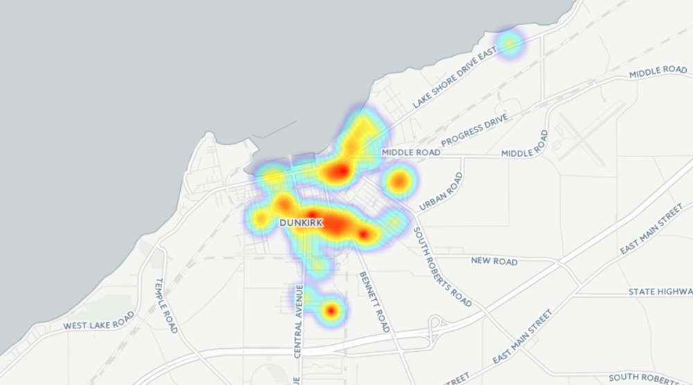 Chautauqua County activities in Dunkirk, NY mapped as a heat map