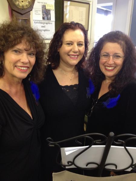 The Blue Chair Poets:  Deborah Williams, Sarah Farrugia and Yvette Bentata
