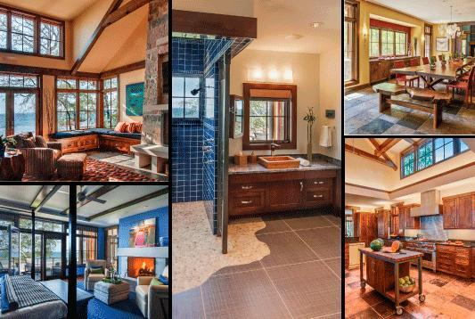 (Top Left) Built-in window seats offer additional seating in the great room and panoramic views of Lake Michigan  (Bottom Left) The restful sounds and ever-changing views of Lake Michigan are part of master suite experience. The fireplace mantel and surround are made from Waukesha white stone. The painting is by Peter Kudlata, owner of Flagstone Landscaping.   (Top Right) A 14-foot long custom live edge dining table and bench made from a black walnut slab accommodate large family gatherings, which can often number 20-plus people. The chandelier becomes a conversation piece as it holds notes from guests about their experience at the lake. Deep River Partners' principal Susan Sherer assisted with the interior design prior to retiring; Trace Burger came on board to finish the project.  (Bottom Right) The professionally outfitted kitchen is designed to allow lots of people to participate in the cooking process. The vaulted ceiling with windows floods the room with natural light. Steven Klein of Klein Lighting designed the lighting plan for the home, which includes task lighiting around the perimeter of the kitchen.
