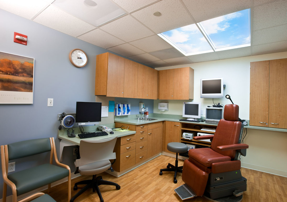Faux skylight in offices and treatment rooms five windowless rooms a welcome daylight reference