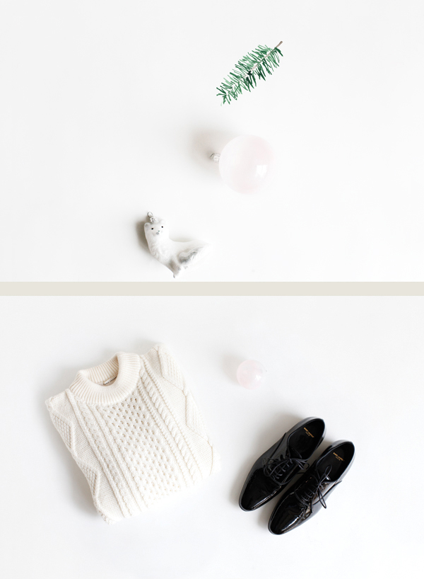 Illustration and photos by me. So many good things on sale right now - Marc Jacobs cable-knit sweater and  Saint Laurent patent brogues, pale pink and mini Rocky glitter ornaments from ABC Carpet and Home.