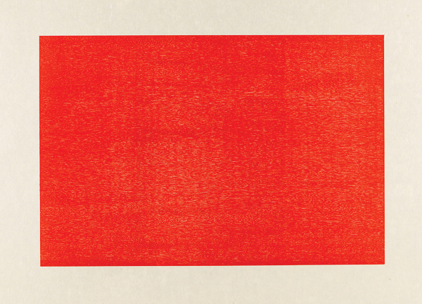 In cadmium red, for Valentine's Day - Donald Judd, Untitled (Schellmann 153-156), 1986. At Paul Kasmin Gallery (afterwards take a ride across town for tea at Rose Bakery).