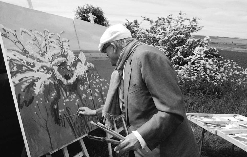 David Hockney painting Woldgate before Kilham, 2007.