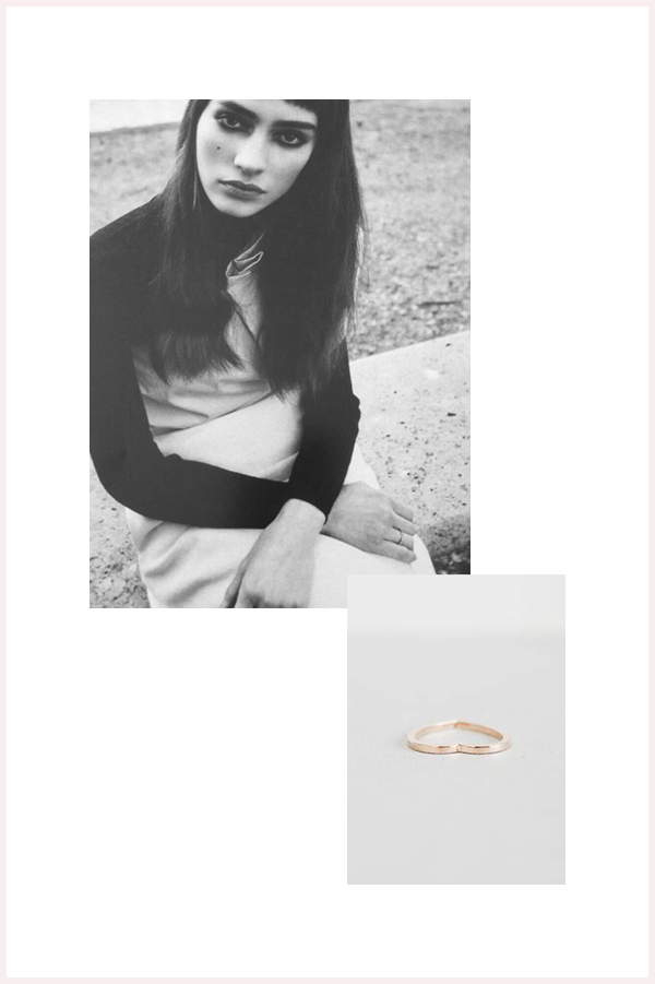 Editorial photo via Repossi, product photo via Département Féminin. Photos below by me, Céline knit top and Repossi Coeur d'Antifer ring.