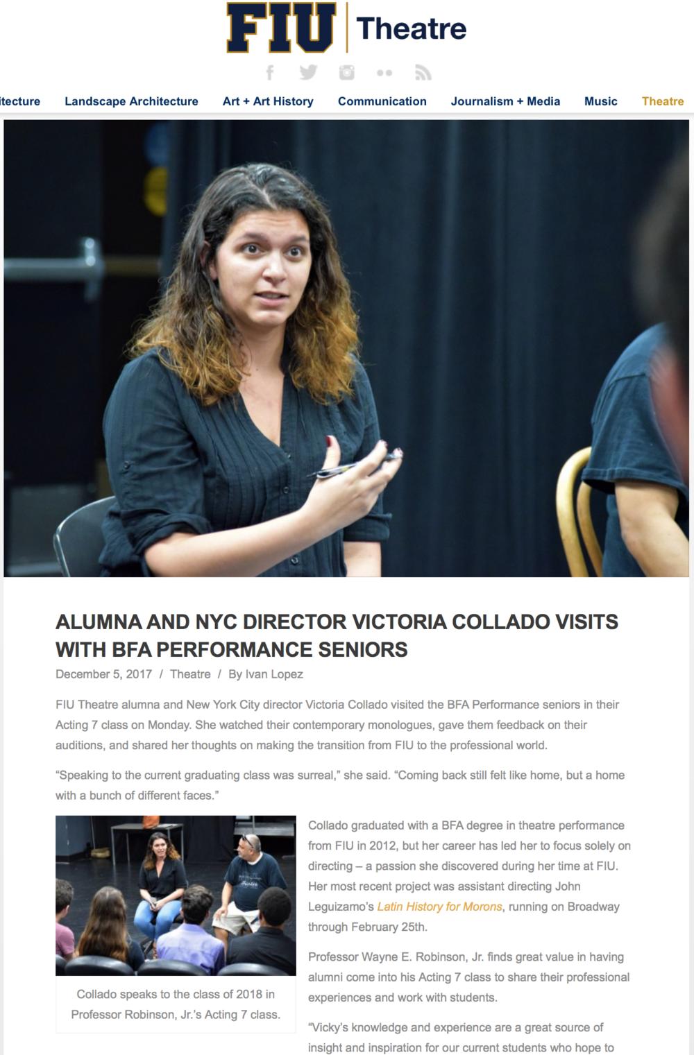 alumna director visits bfa students - florida international university