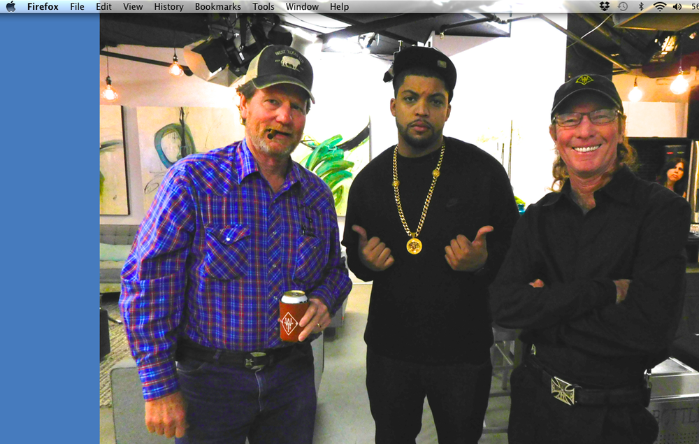 That's Rooster and Butch with the star of Straight Outta Compton (Ice Cube's son) in the waiting room for Access Hollywood Live.