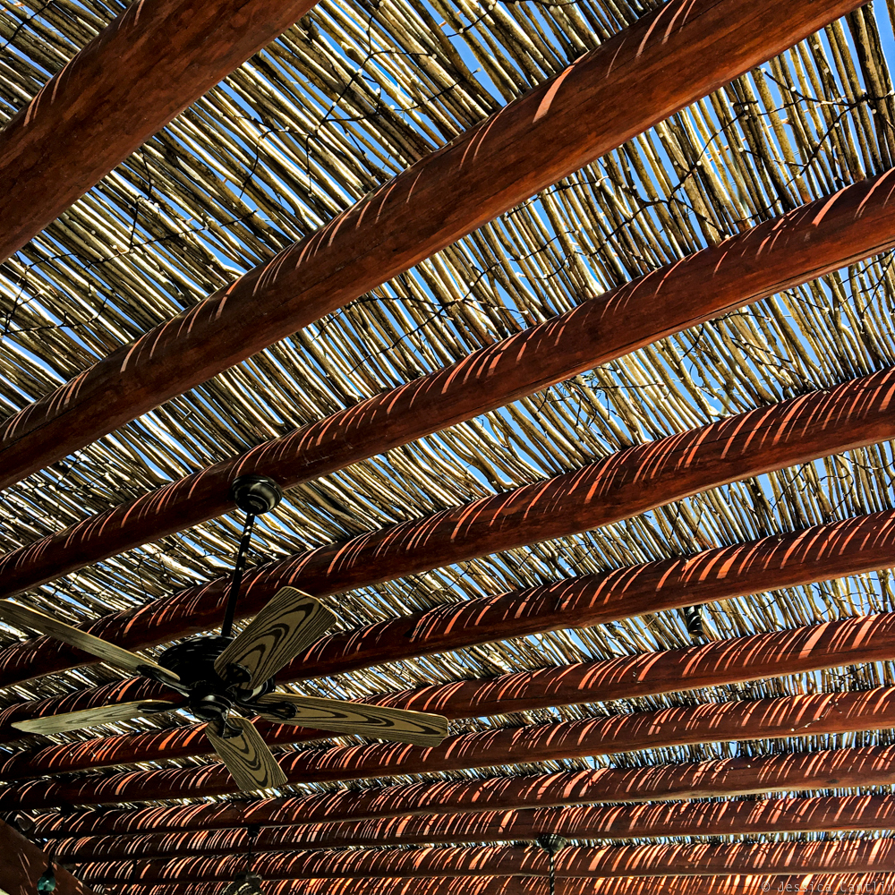 Under the palapa in the beachside Grill at Las Ventanas