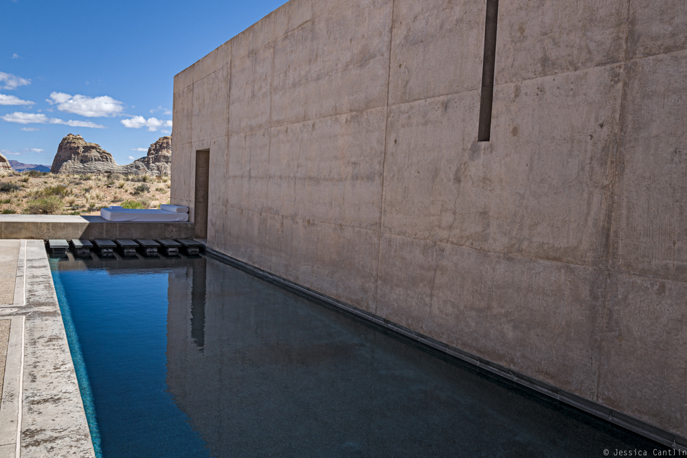 Solitude of the pool in the Amangiri Suite.