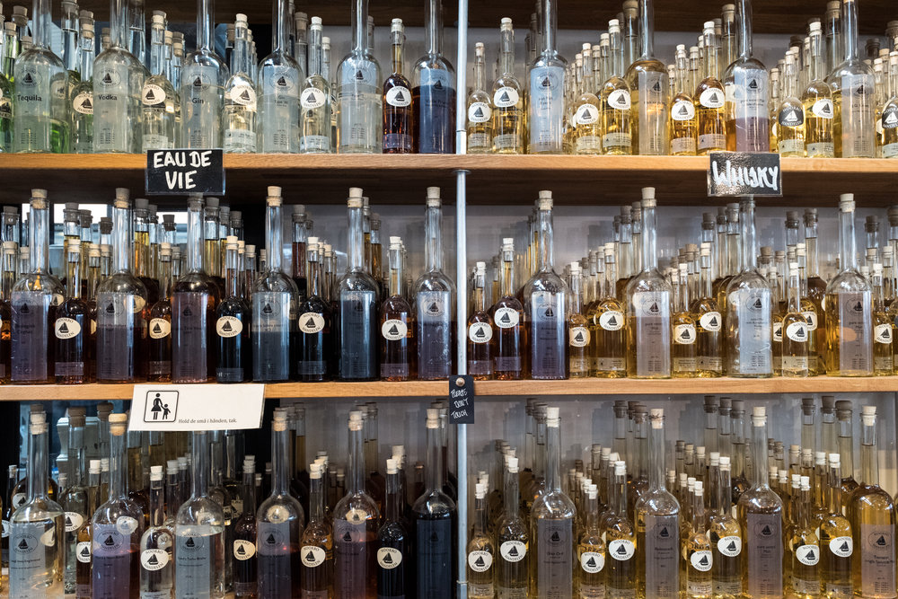 Spirits for sale at Torvehallerne