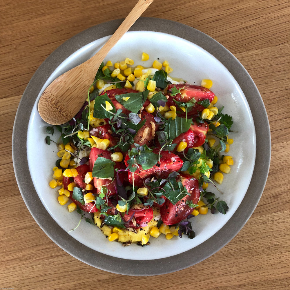 Tomato and Corn Salad at Ashes & Diamonds