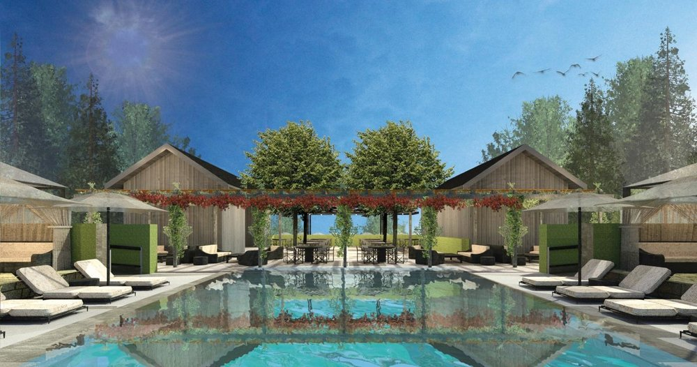 Rendering of the new pool deck at Meadowood Napa Valley  (photo courtesy of Meadowood)