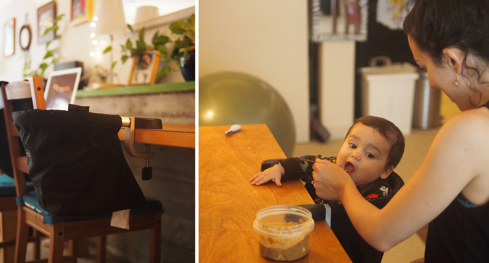 The very compact Mountain Buggy high-chair saves space while allowing Matias to join the family at the table.