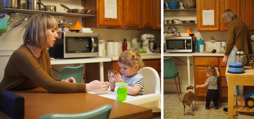 Freja eats a snack in her Ikea Antilop high chair. Loved by many parents for its simplicity of design and ease of cleaning, it's also only $20.