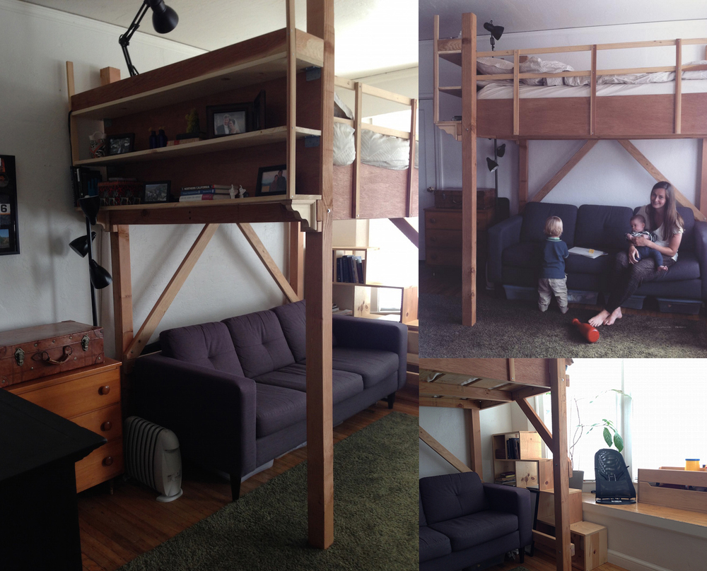 Suzanne and Greg's loft bed was hand built to their needs and specifications. The bookcase acts as stairs.