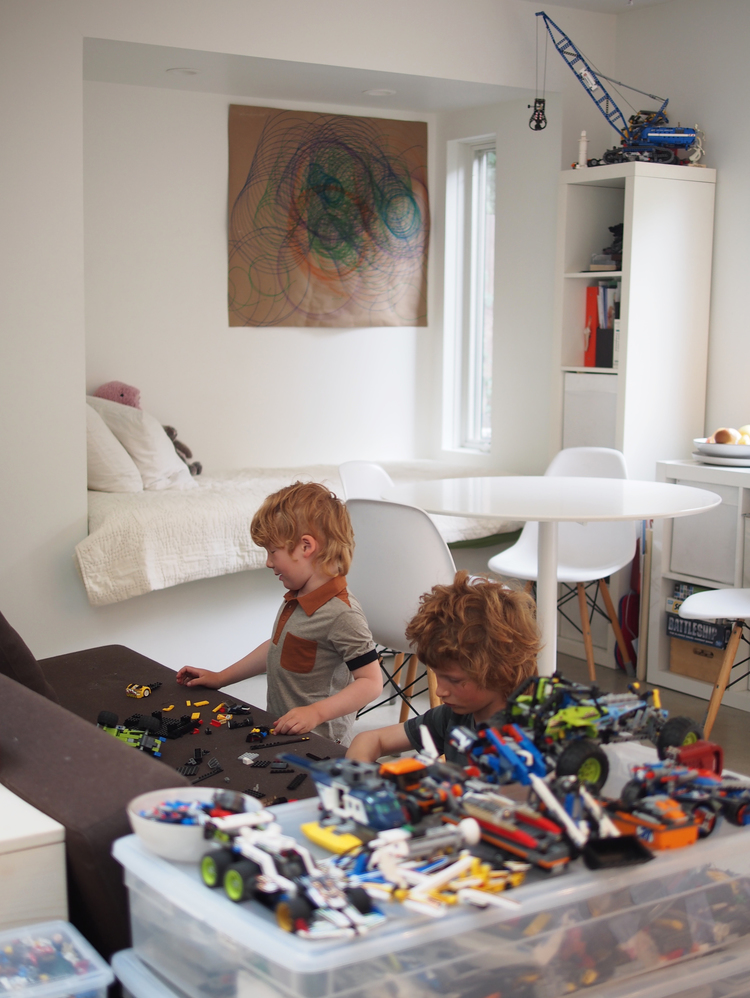 Sofas in the living space convert to the boys  beds at night  Lego  organisationLiving Small. Living Small With A Family. Home Design Ideas