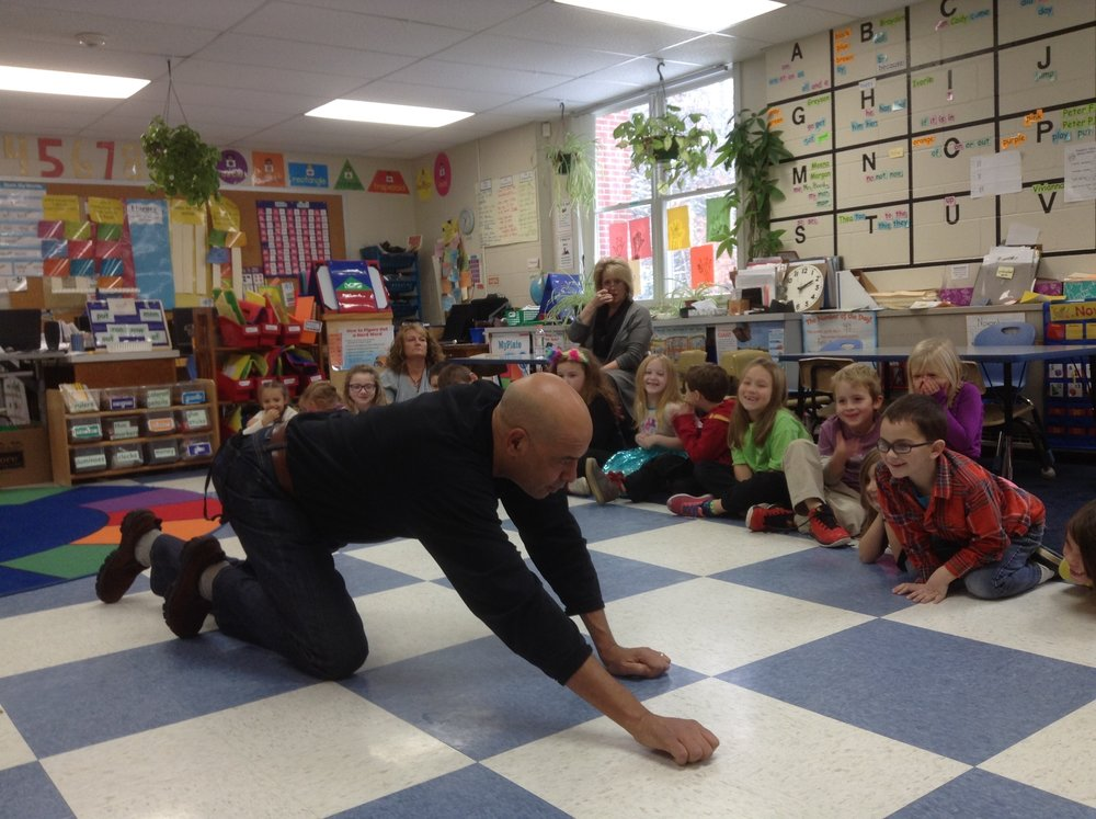 Antonio rocha gets wild with first graders at the k.a. brett school