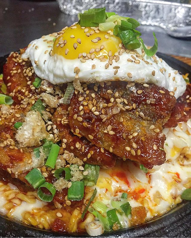 sometimes you need a few shots of #booze to get the creative #chef juices going haha 😜 #Korean #cheesy #ramen n general oh's #deepfried #porkbelly 🙌 #egg #eggporn #instagood #chef #cheflife #picoftheday