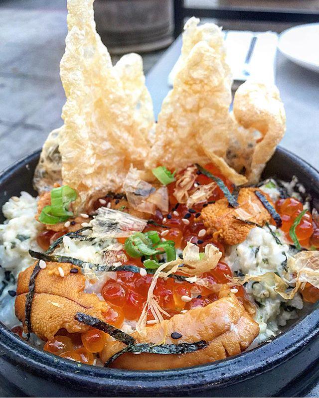 #testkitchen @hanjipbbq #korean style #uni n #seafood #risotto w/ #fried #chicharron 🙌 #instagood #chef #cheflife #eeeeeats #picoftheday @frenchyfoody @misterfrancois