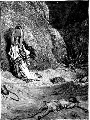 """Hagar in the Wilderness,"" Gustave Dore"