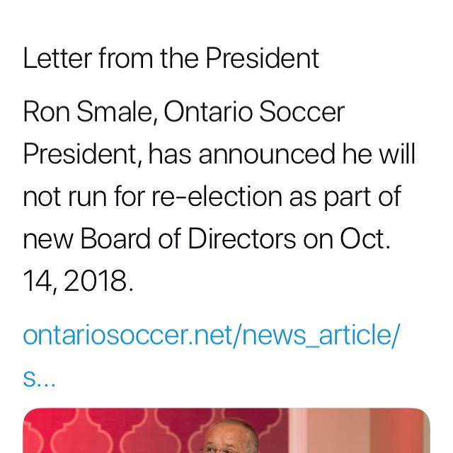 Breaking: Ontario soccer will have a new President this fall. Big news for #grassroots soccer in 🇨🇦. ALL IN Sports Talk will follow this story & will happily offer its services and its airwaves to any candidates who wish to share their platform with the public.
