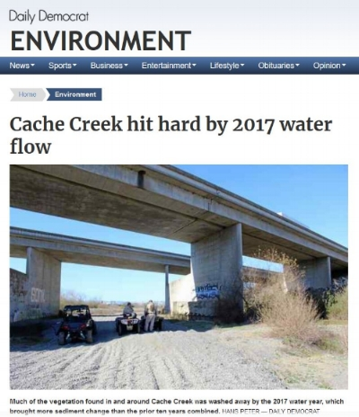 FlowWest's work on Cache Creek was Recently covered by the Daily Democrat