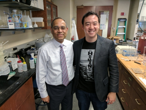 Ram, now an Associate Dean at VCU, giving me a tour of his lab after my career talk to VCU engineering undergrads in February 2017.