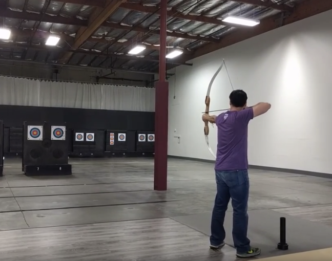 Practicing on the shop bow in e rarely empty shop.