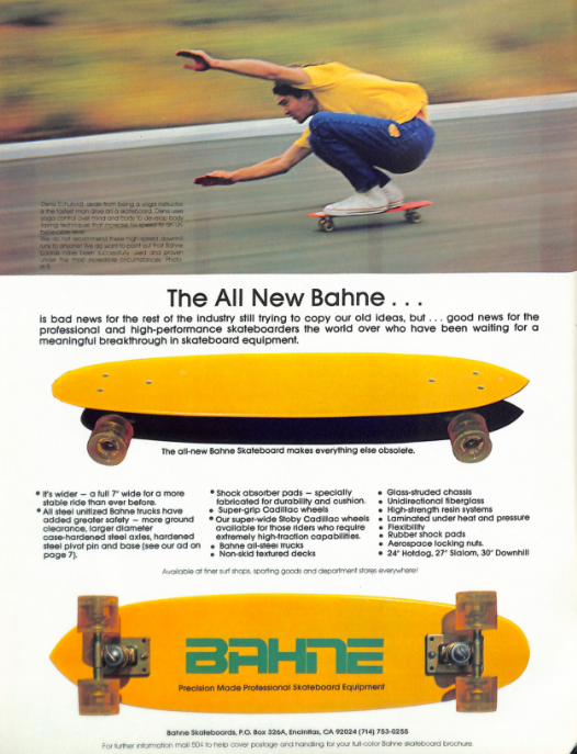 "Thanks to the tireless scanned-in Skateboarder magazine archives from Transworld...the wheels: ""they grip."" I wonder how this board would ride with two pairs of   Blood Oranges   bolted on..."