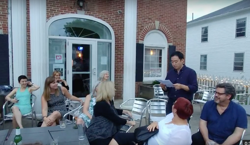 "Getting ""encouraged"" to do an pop-up reading in the company of fiction, creative non fiction writers and poets outside the     VI     on a humid Gambier summer evening (thanks Elizabeth Dark and Stacy Murison!). Impromptu writer moments surrounded by scary talented, praised, award-winning creatives like this are what make the community of KRWW so special, year after year, each cohort connected to the community of each other and to the instructors & students of years prior."