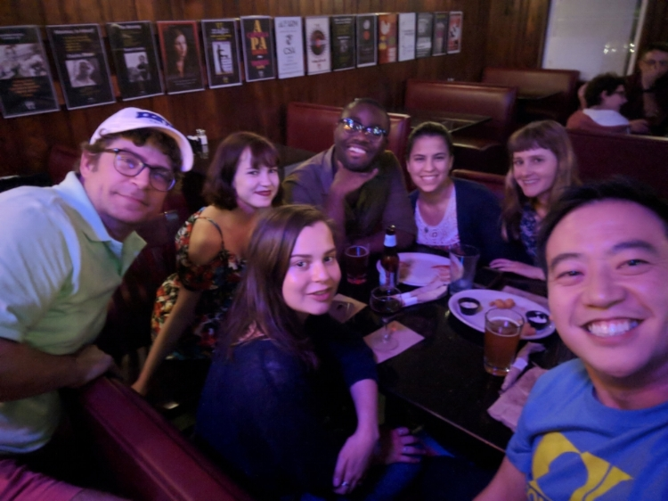 Closing down the VI on the next to last night of the week. (L to R): Joel, Caroline, Rachel in front of Caroline, Jabari, Cristi and Sarah sharing life stories, poets and writers we're inspired by and eating lots of tater tots.