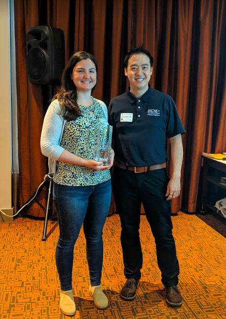 """Wan an honor for me to present the inaugural AIChE NorCal Cup which sounds like it should be a prize for a sporting event, but actually goes to the most self-directed, takes initiative """"above and beyond"""" volunteer of the year. The worthy, worthy recipient this year was Sarah Lucere, an engineer at Tanner Pacific, whose leadership over the last two years has really helped strengthen the NorCal community."""