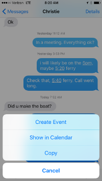 "The text ""5pm"" in a text message is recognized by iOS as a trigger for creating a calendar event"