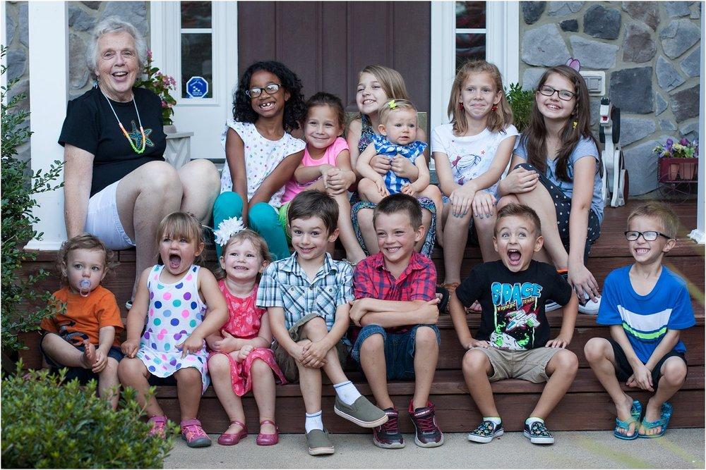 My Grandma with 13 of her 14 great-grandchildren