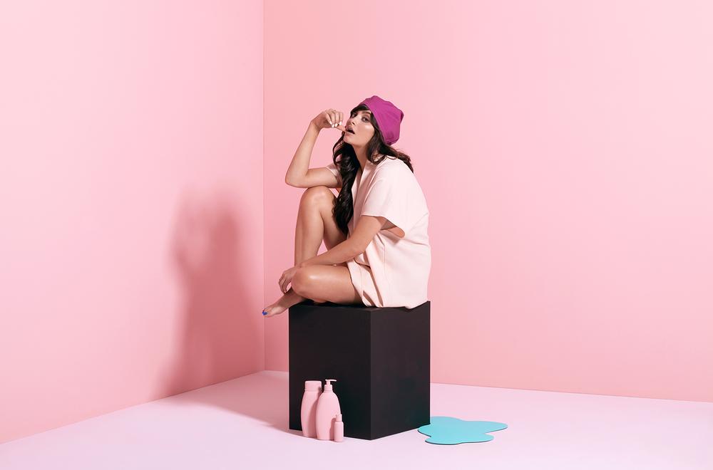 Taylor LaShae wearing The Not Basic fashion forward designer turban reinvention of the shower cap SHHHOWERCAP showercap