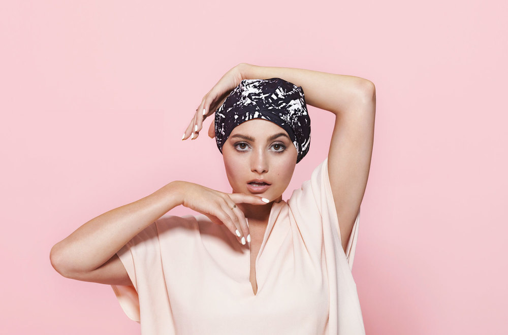 The Kent is the reinvention of the shower cap by SHHHOWERCAP showercap modeled by Taylor Lashae