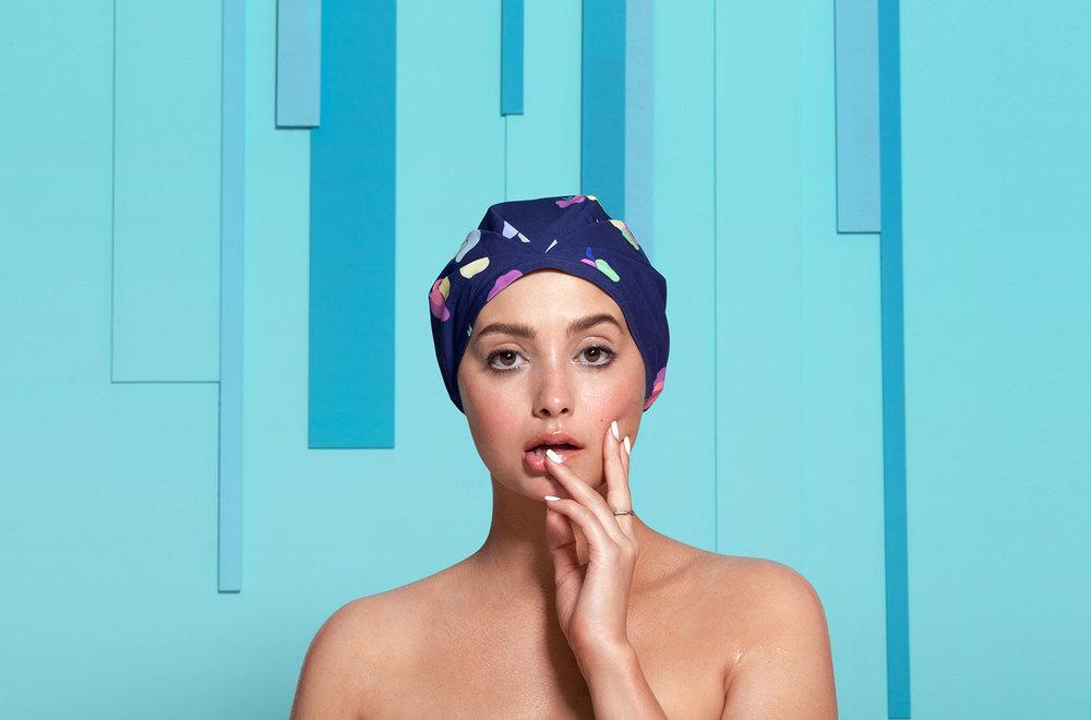 The Posey fashion forward designer turban shower cap reinvention of the shower cap on Taylor LaShae SHHHOWERCAP showercap